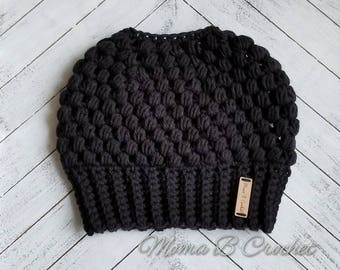 Crochet Messy Bun Hat, Messy Bun Hat, Messy Man Bun Hat, Pony Tail Hat, Messy Bun Toque, Claire Messy Bun, Claire Messy Bun Hat