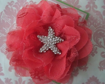 Girl hair clips - flower hair clips - star fish hair clips