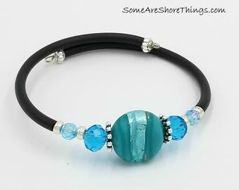 Bracelet, Memory Wire Bracelet with Black Rubber Tubing and Aqua Glass Beads. Gift for Mom or Girlfriend.  Gift Exchange.  Secret Santa.