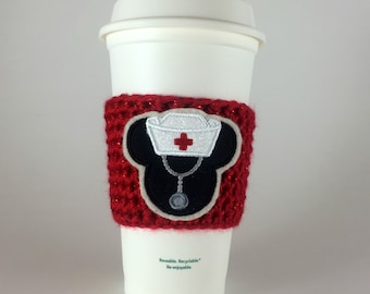 Mickey Nurse / Coffee Cup Cozy / Crochet Coffee Sleeve / Reusable Cozie / Customizable