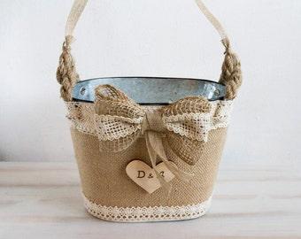 Rustic Flower Girl Basket Wedding Personalized Basket Rustic tin bucket Bridal basket Burlap flower girl basket Country flower girl basket