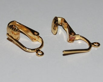 Pierced Look Clip-On Earring Components - Gold Plated -  10 Pair