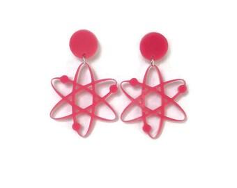Pink Atom Dangle Earrings  - Plastic Dangle Earrings - Science, Atomic, 50s  - Women's, Rockabilly, Retro, Pinup Jewelry