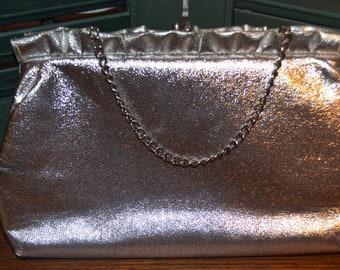 Vintage Silver Metallic Mid Century Evening Top Chain Handle Purse