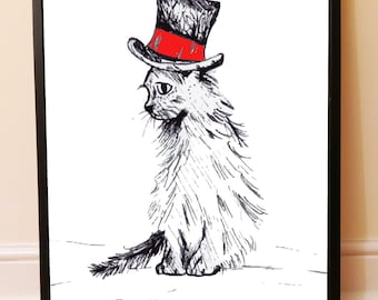 Printable File: Cat in Hat 'I Miss You', Instant Download Art, Wall Deco, Drawing, Sad, Alone,