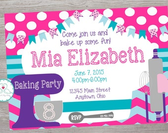 Baking cooking birthday party invitation printable digital file