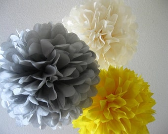 10 Tissue Pom Poms - Your Color Choice- SALE - Yellow and Gray Party Decorations - Shabby Chic Decor - Rustic Barn wedding -