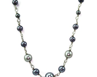 Handmade Wirework Grey Graduated Glass Pearl Necklace