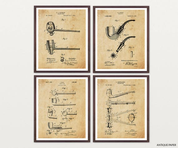 Pipe Art - Pipe Patent - Pipe Poster - Vintage Pipe - Vintage Pipe Art - Pipe Wall Art - Pipe Decor - Tobacco - Tobacco Pipe - Old Pipe