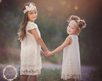 Ivory lace dress, Baptism girl,rustic flower girl dress  girls lace dress, Ivory lace dress,christening dress, flower girl dress, baby dress