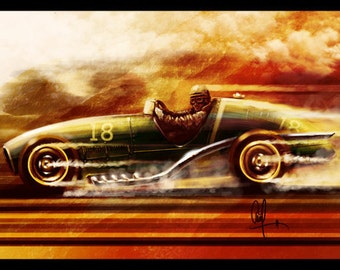 Vintage Automotive Art : 1950's Conceptual Grand Prix car 8x12 Metallic Print