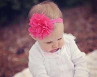Pink baby headband, QUICK SHIP, hot pink baby headband, hot pink headband, infant headband, newborn headband, bright pink headband, hairband