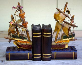 Spanish Ships Wood Bookends