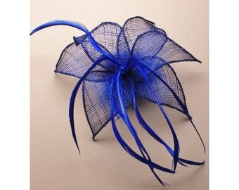 Royal Blue Fascinator. Royal Blue fabric mesh flower & feathers fascinator on a forked clip / brooch pin. Wedding Fascinator, Blue Headdress