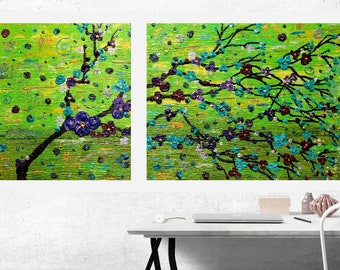 Landscape Original Modern House Home Decor Art Painting Colorful Flowers Green Blue iridescent Red Purple Textured Acrylic by Heather Lange