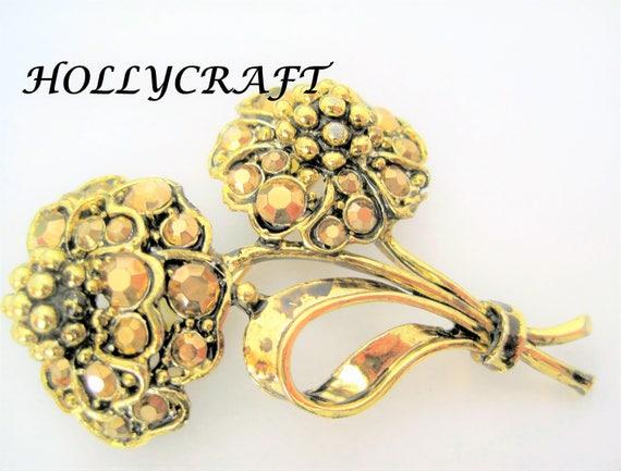 Hollycraft Gold Tone Brooch - Bronze Rhinestone Flowers-  Two Flower Gold Tone