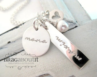 Hand Stamped Necklace . Hand Stamped Personalized Jewelry . Brag About It . My Loves