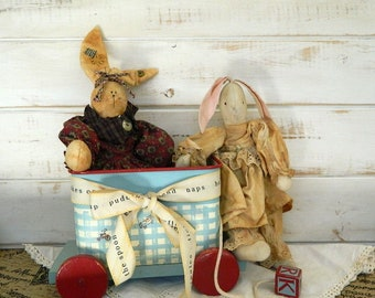 Rag Doll Bunnies - Cloth Bunny Rabbit Dolls - Shabby Chic Bunny - Primitive Dolls
