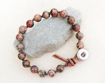 Men's Bracelet, Leopard Skin Jasper, Hand Knotted, Leather, Silver Button, Rustic, Meditation, Yoga, Handmade, Gift for Man, Gift for Him