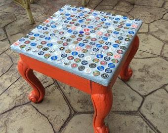 Beer or soda bottle-cap table
