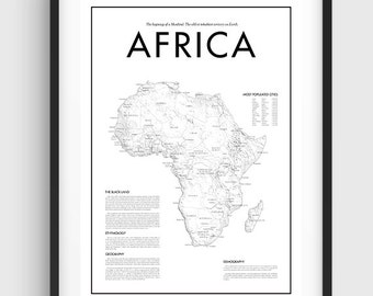 Minimal Africa Map Poster, Black & White Minimal Print Poster, Art, Home Art, Minimal Graphics, New York Poster, Map Home Decor