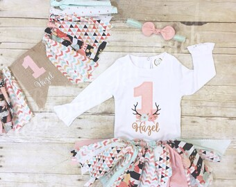 Pink black gold mint First birthday outfit girl|antlers deer wild one bday| Birthday outfit for baby|birthday onesie for girl|1st birthday