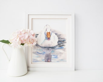Duck Print D117DL, downloadable print, digital art, duck watercolor painting, nursery wall art, white and blue print for nursery