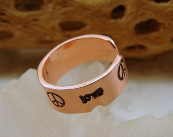 Pure Copper Ring Hand Stamped with Love and Peace Sign - Any size
