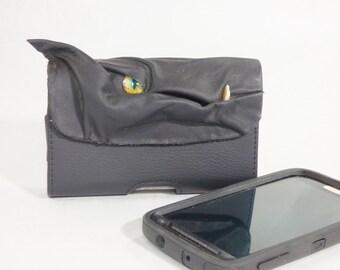 Dragon Phone Case Black Leather Phone Accessory Large
