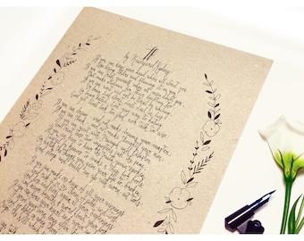 If - Rudyard Kipling, poem, handwritten, calligraphy