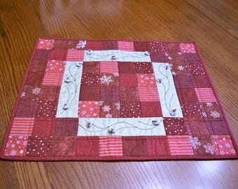 Christmas Runner, Snowman Table Topper, Mini wall quilt  Country Red and Cream Holiday