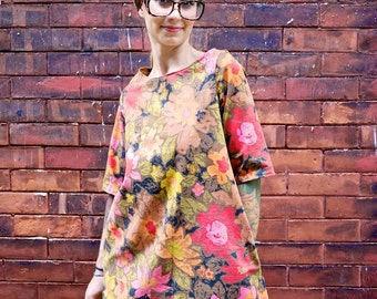Vintage Floral Long Sleeve Mod A Line Dress with Pockets|Plus Size Dress|Retro Dress|Party Dress|Maternity Dress|50s Dress|60s Dress|