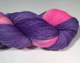 Hand Dyed Yarn First Day of School Hand Dyed Sock Yarn Purple Variegated Sock Yarn Pink Variegated Sock Yarn Indie Dyed Sock Yarn