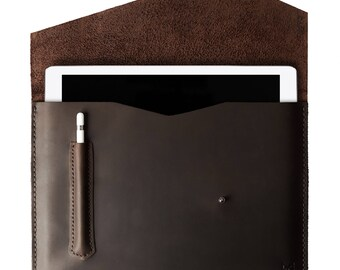 Dark Brown iPad Pro 10.5, iPad Pro 12.9 Leather Case With Apple Pencil Holder, Custom Hand Stitched Sleeve Folio, Monogrammed Mens Gifts