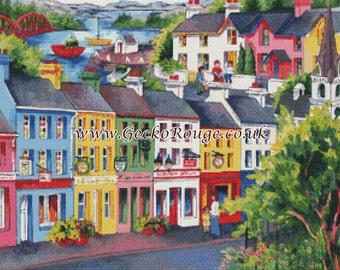 Modern Cross Stitch, Counted Cross Stitch Kit, Kenmare- Jo-Anne Yelen - Needle Craft , Colorful Village, Cross Stitch Pattern, Art Stitch