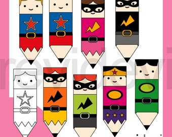 Superhero clipart, cute pencil superheroes characters clip art / back to school clipart commercial use, instant download