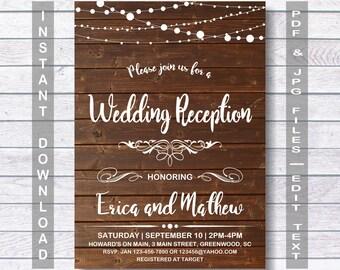 Wedding Reception Invitation, Instant Download, RUSTIC Wedding Reception Invitation, Wedding Reception, Wooden Wedding Reception