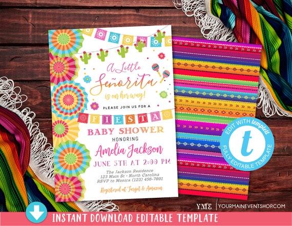Fiesta Baby Shower Invitation, Girl Fiesta Baby Shower Party, Floral Mexican Fiesta Baby Shower Invite, Printable, DIY