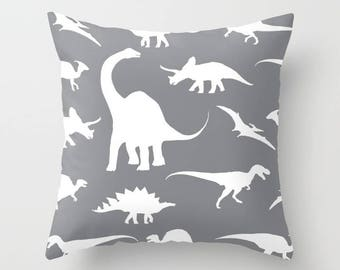 Dinosaurs Pillow Cover - Dinosaurs Decor - Grey Pillow Cover - Boy Bedroom Decor - Dinosaur Cushion Cover - Accent Pillow