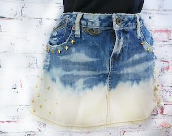Denim Mini skirt  -upcycled denim skirt, Acid wash denim skirt - high waisted denim skirt -blue jean skirt -  Size 9 skirt,    # 26
