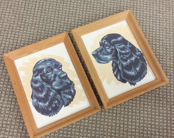 Pair of Framed Paint by Number Black Spaniels Dogs