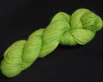 Hand Dyed Alpaca Yarn in Sour Apple - Sport Wt 250 yds