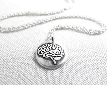 Tiny brain necklace, silver realistic human brain jewelry, zombie necklace, medical jewelry