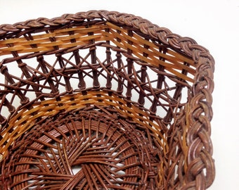 "vintage wicker basket gorgeous open weave basket medium basket, fruit bread serving bowl farmhouse kitchen, 9"" wide 4"" deep yesteryears"