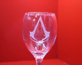 Laser Engraved Assassin's Logo Wine Glass Computer Games Gaming