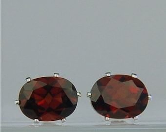 Memorial Day Sale Garnet Stud Earrings Sterling Silver 8x6mm Oval 3.50ctw Natural Untreated