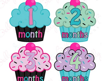 Girl Monthly Baby Stickers, 1 to 12 Months, Monthly Bodysuit Stickers, Baby Age Stickers, Cupcakes  (041-2)