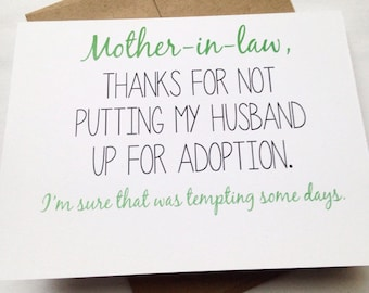 Mother in Law Card - Mother's Day Card - Mom Birthday Card - Funny Card - Card for Mother-in-Law - Mother's Day