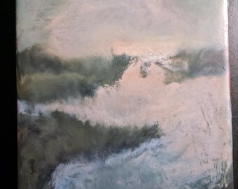"""Abstract landscape Painting ,  original Encaustic wax and oil, on 5"""" x 7"""" MDF board,  By artist Richard Chalifour"""