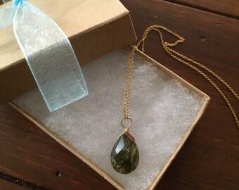 """Gold agate pendant neclace  chain 16"""""""